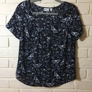 Kim Rogers butterfly print blouse NWOT